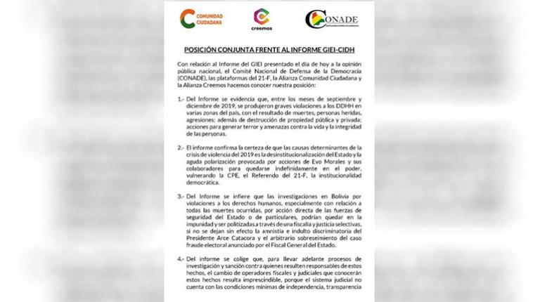 Conade, CC and Creemos warn that the 2019 deaths could go unpunished and politicized