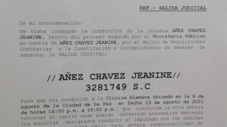 Two-hour departure from Jeanine Áñez authorized to go to a clinic