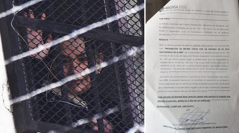 Áñez is punished with three days without a visit for not attending a hearing